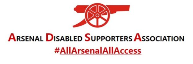 The ADSA Twitter logo which shows the cannon with Arsenal Disabled Supporters Association and All Arsenal All Access underneath