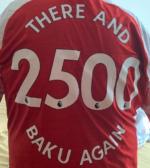 Wayne travelled to watch Arsenal in Baku - 2,500 miles return trip.
