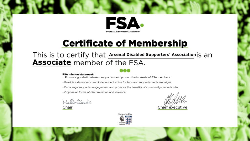 The Football Supporters Association certificate. ADSA is an associate member of the FSA