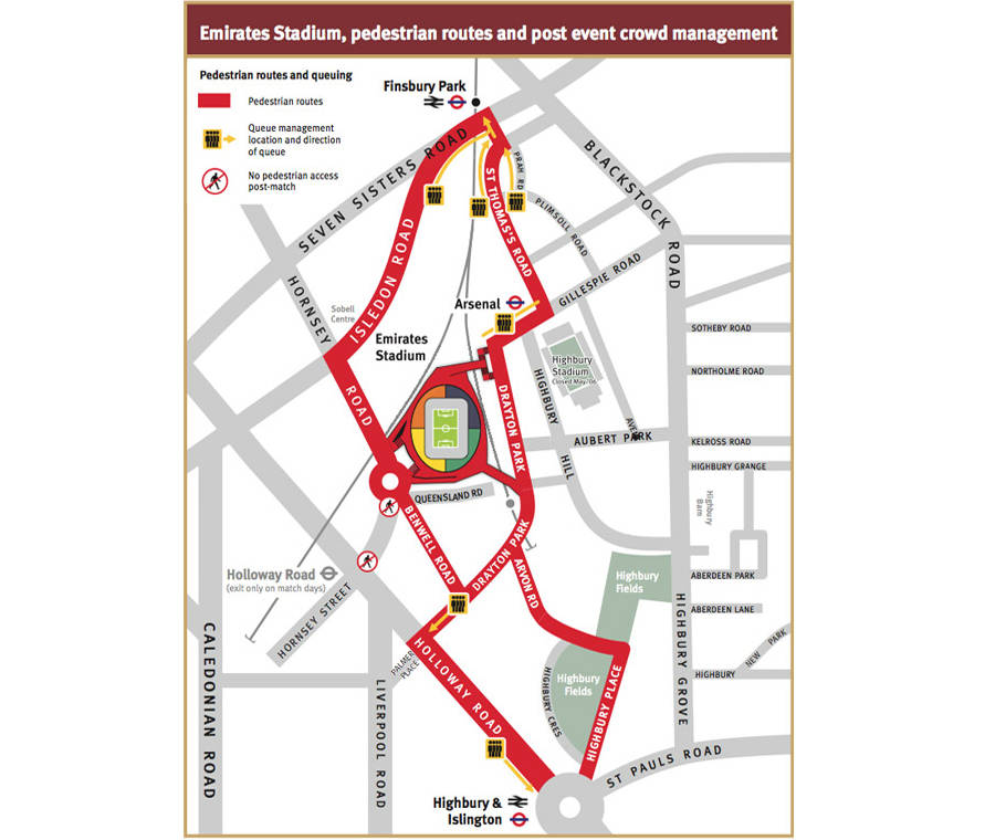 Map of surrounding roads around the Emirates Stadium as well as stations.